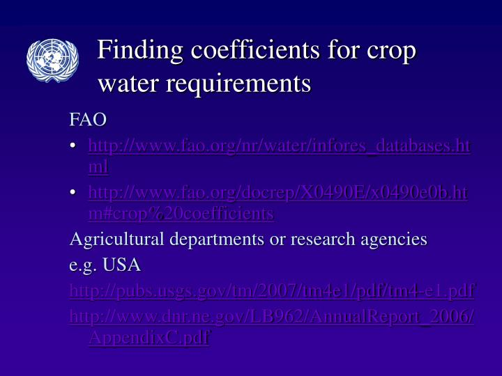Finding coefficients for crop water requirements