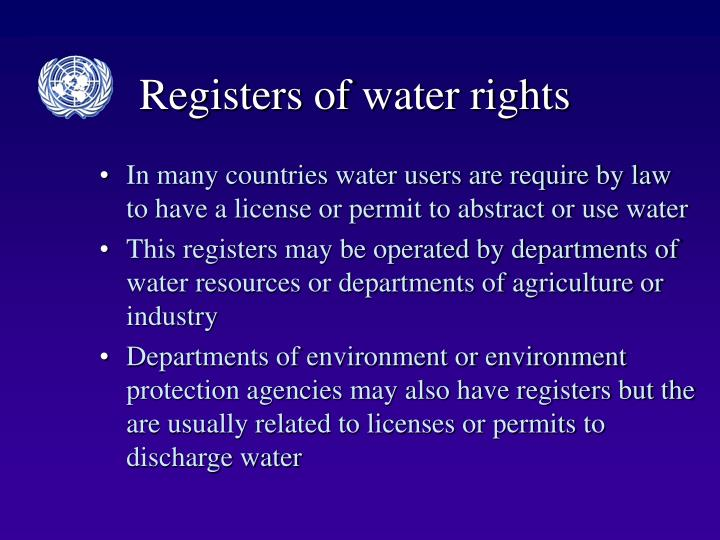 Registers of water rights