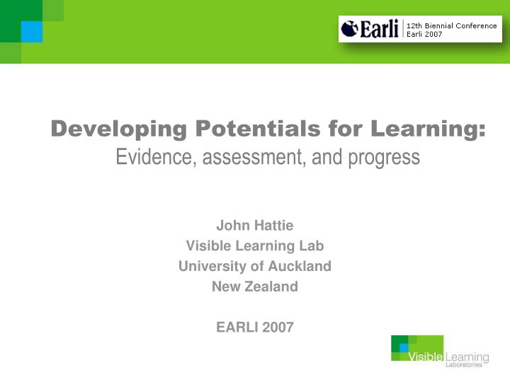 developing potentials for learning evidence assessment and progress n.