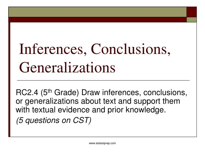 PPT Inferences Conclusions Generalizations PowerPoint