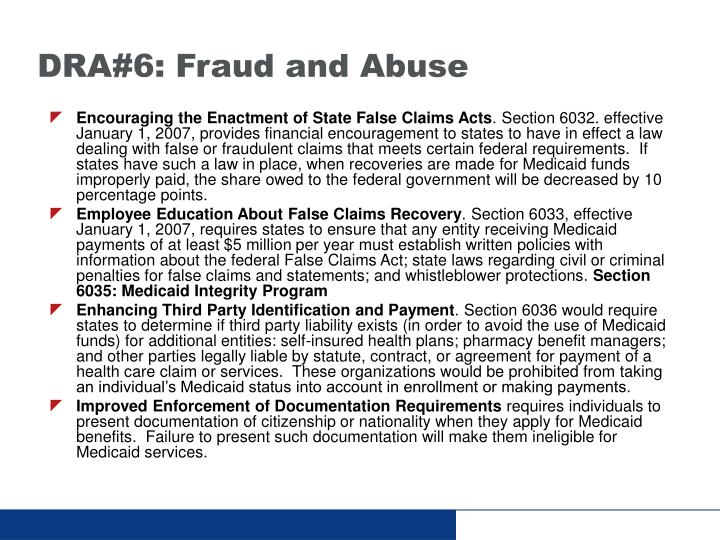 DRA#6: Fraud and Abuse