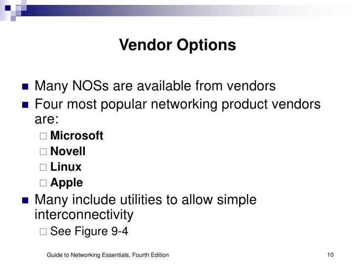Vendor Options