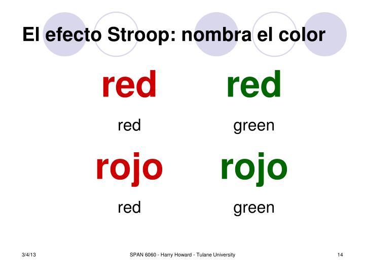 El efecto Stroop: nombra el color