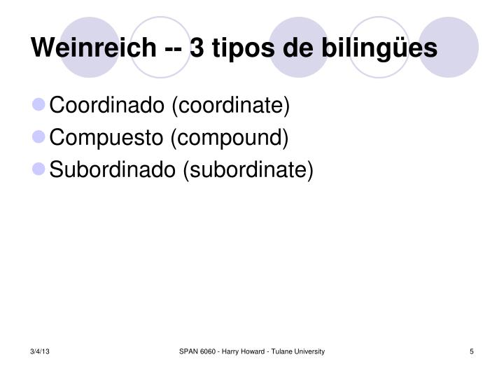 Weinreich -- 3 tipos de bilingües