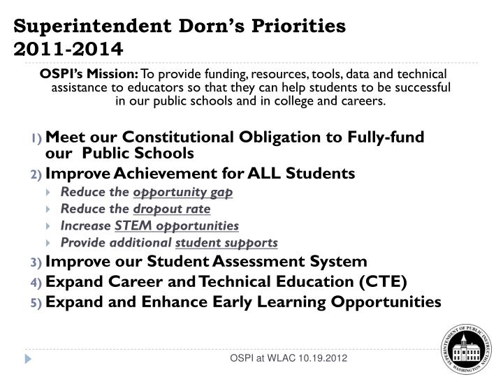 Superintendent dorn s priorities 2011 2014