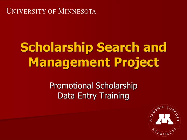 Scholarship search and management project
