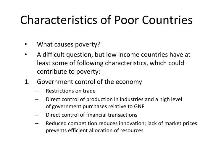 Characteristics of Poor Countries