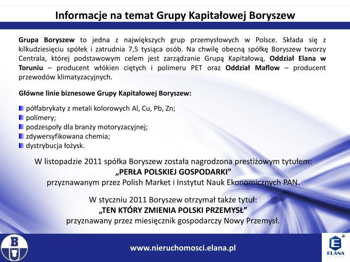 Informacje na temat Grupy Kapitałowej Boryszew