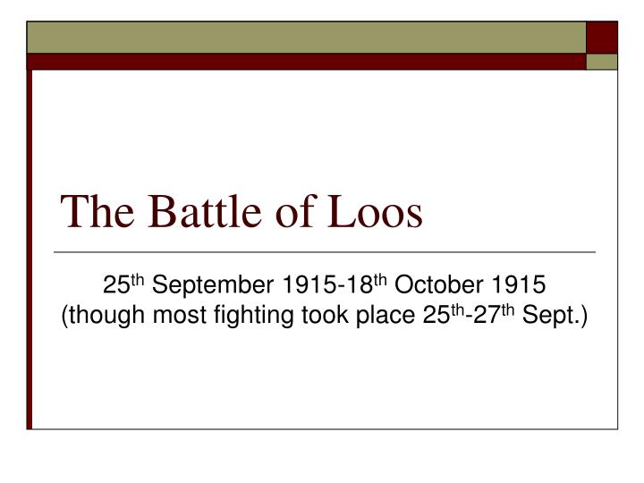 the battle of loos n.
