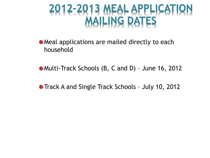 2012-2013 Meal Application
