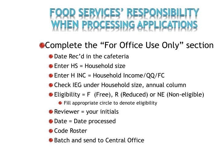FOOD SERVICES' RESPONSIBILITY