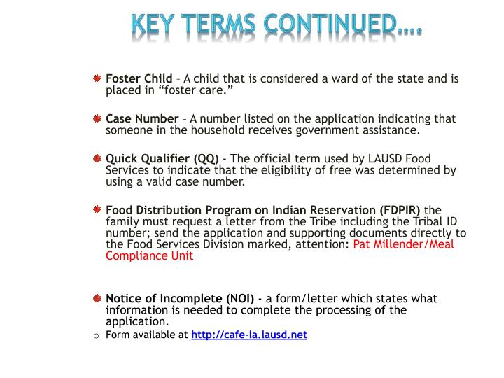 KEY TERMS continued….