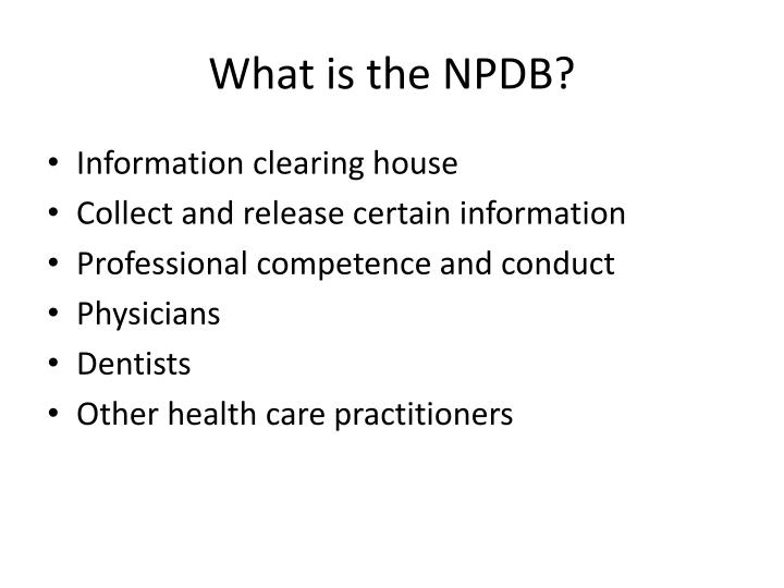 What is the npdb