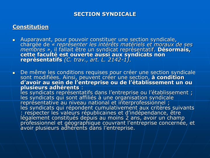SECTION SYNDICALE