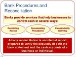 bank procedures and reconciliation