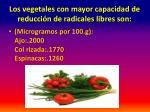 los vegetales con mayor capacidad de reducci n de radicales libres son