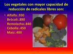 los vegetales con mayor capacidad de reducci n de radicales libres son1