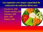 los vegetales con mayor capacidad de reducci n de radicales libres son3