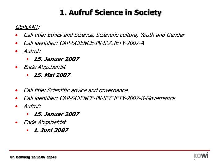 1. Aufruf Science in Society