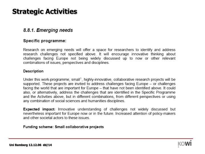 Strategic Activities