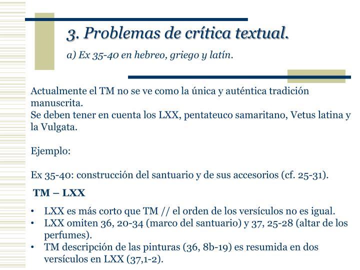 3. Problemas de crítica textual.