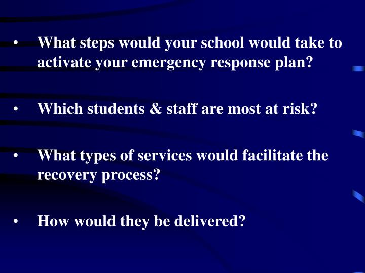What steps would your school would take to activate your emergency response plan?