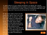 sleeping in space
