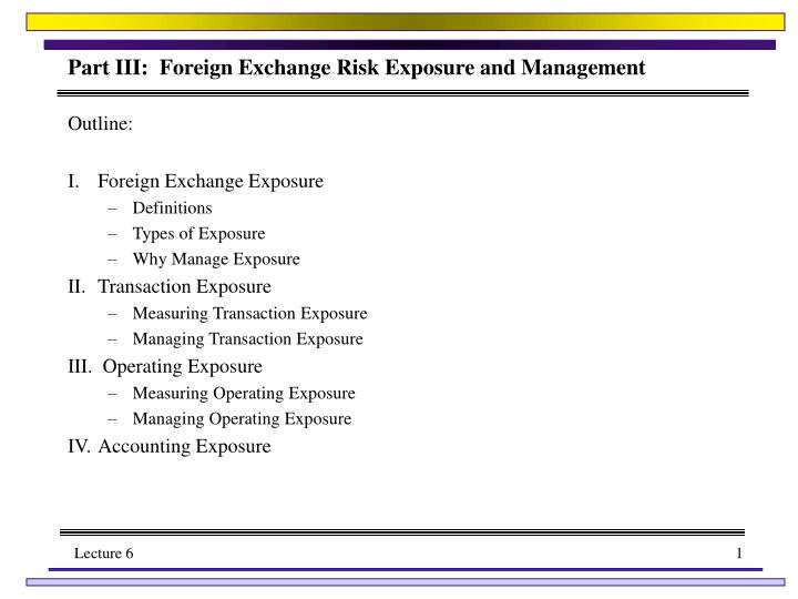 PPT - Part III: Foreign Exchange Risk Exposure and