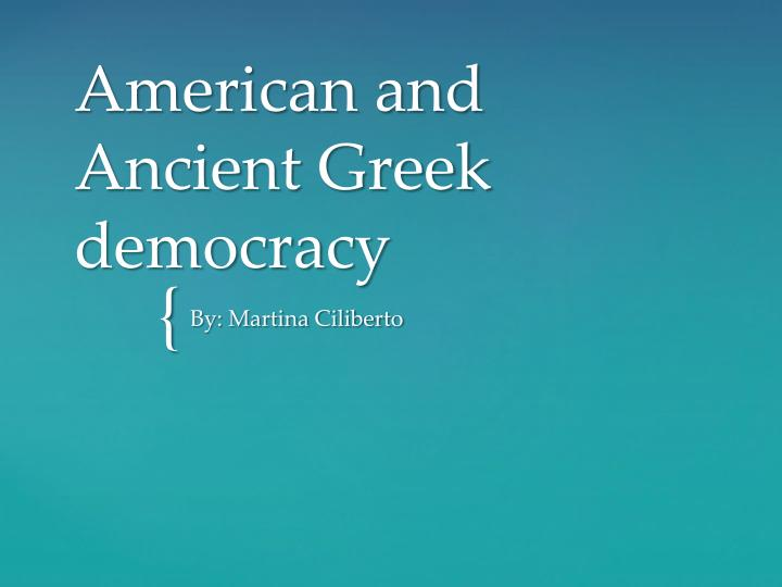 american and ancient g reek democracy n.