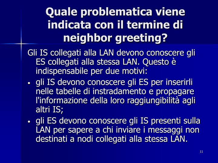 Quale problematica viene indicata con il termine di neighbor greeting?