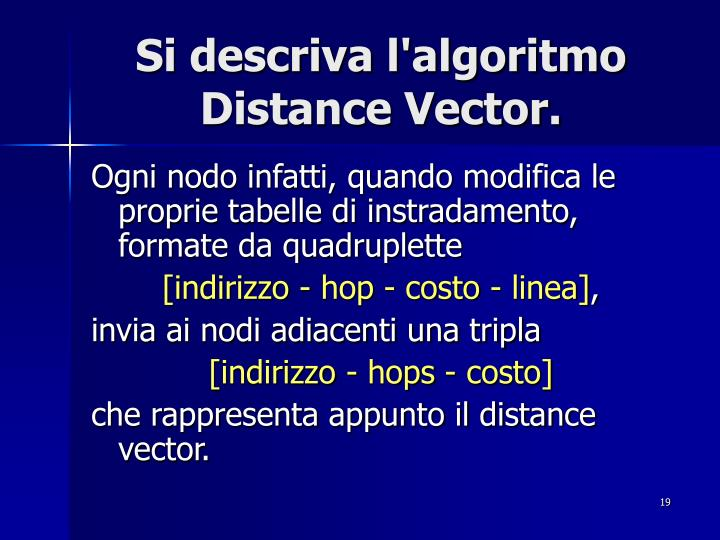 Si descriva l'algoritmo Distance Vector.
