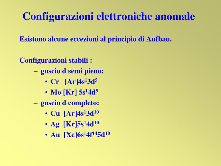 Configurazioni elettroniche anomale