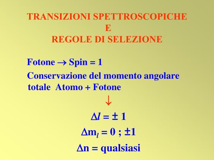 TRANSIZIONI SPETTROSCOPICHE