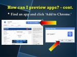 how can i preview apps cont4
