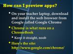 how can i preview apps1
