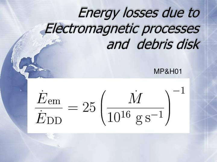 Energy losses due to Electromagnetic processes and  debris disk