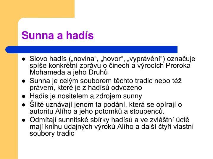 Sunna a hadís