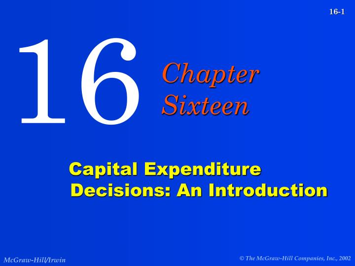 capital expenditure decisions an introduction n.
