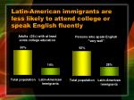 latin american immigrants are less likely to attend college or speak english fluently