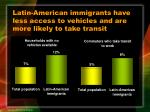 latin american immigrants have less access to vehicles and are more likely to take transit