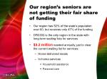 our region s seniors are not getting their fair share of funding
