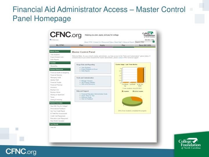 Financial Aid Administrator Access – Master Control Panel Homepage