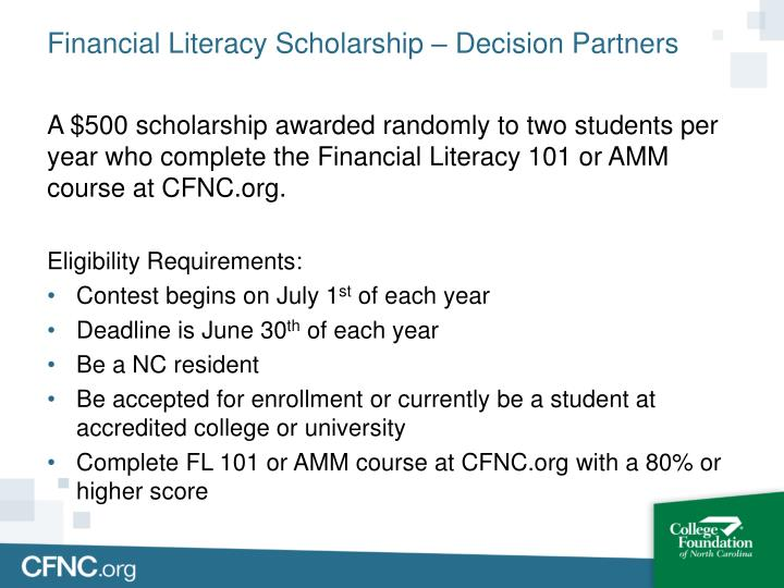 Financial Literacy Scholarship – Decision Partners