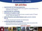 qa activities