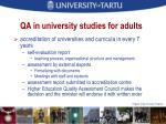 qa in university studies for adults