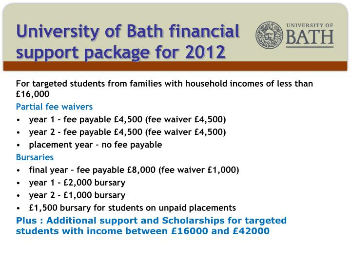University of Bath financial support package for 2012