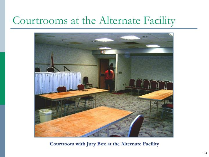 Courtrooms at the Alternate Facility