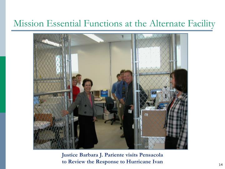 Mission Essential Functions at the Alternate Facility