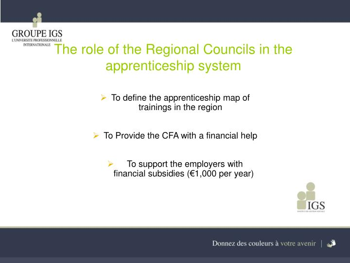 The role of the Regional Councils in the apprenticeship system