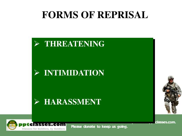 FORMS OF REPRISAL